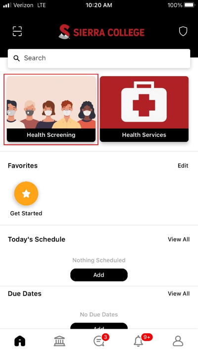 Screenshot of the Home page of the Sierra College app with red box around Health Screening tile at top